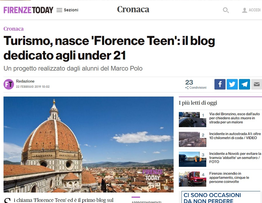 Rassegna Stampa Florence Teen - Firenze Today