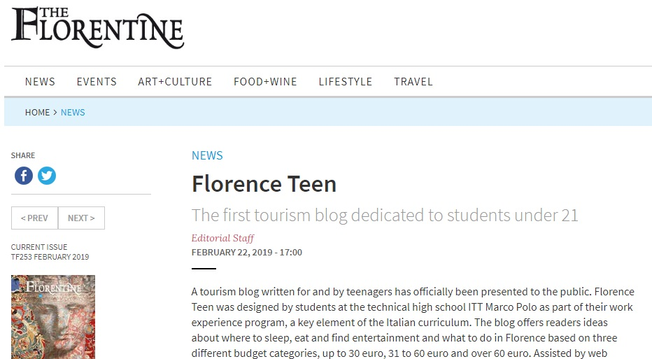 Rassegna Stampa Florence Teen - The Florentine
