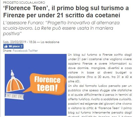 Rassegna Stampa Florence Teen - Il sito di Firenze